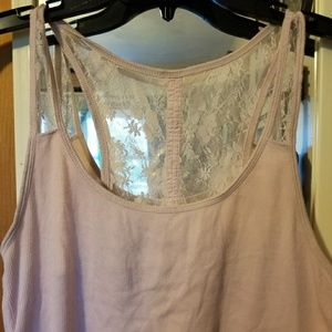 AEO Tank Top with Lace and Button Detail